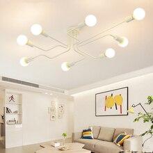 Lámpara de techo de araña de arte Retro Edison bombilla Vintage Loft luces de techo de madera LED moderno Decoración Para sala de estar Accesorios
