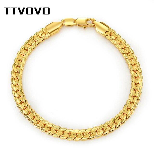 TTVOVO kubański łańcuszek bransoletka Big Chunky 6 MM 21 CM Link wąż łańcuch ręcznie bransoletki i bransolety dla mężczyzn modna biżuteria hurtowo