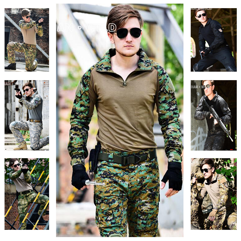 Military Camouflage Hunting Clothes With Detachable Knee And Elbow Pads Tactical Army Uniform Set Men Airsoft