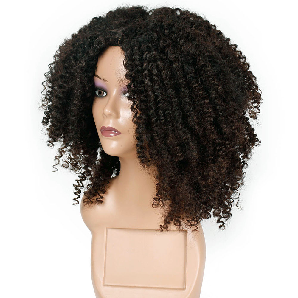 Unique Design Brown Synthetic Curly Wigs For Women Short Afro Small Rolls Curly Wig African American Natural Gift Dropshipping