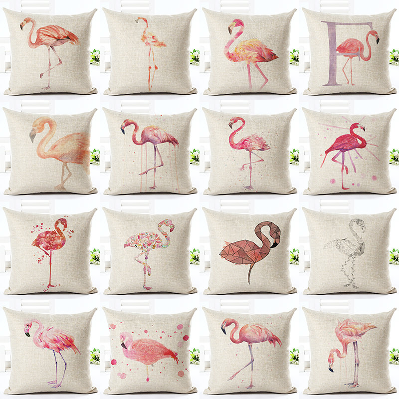 fashion home decorative cushions flamingo printed throw pillowcase car home decor cushion cover decor almofadas cojines - Home Decor Cushions