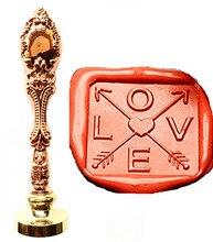 Vintage Square Love Heart Cross Arrow Custom Picture Logo Luxury Wax Seal Sealing Stamp Brass Peacock Metal Handle Gift Set