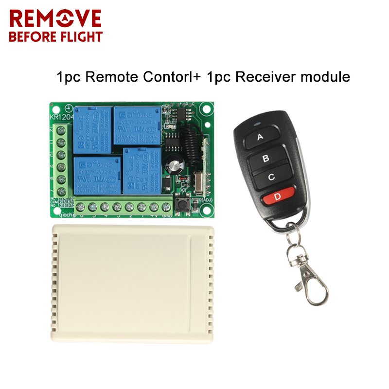 433MHz Universal Carro controle remoto DC <font><b>12V</b></font> <font><b>4CH</b></font> <font><b>Relay</b></font> Receiver <font><b>Module</b></font> RF Switch 4 Button Remote Control Gate Garage opener image
