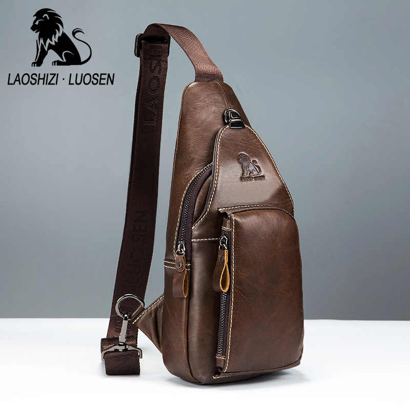 Retro New Brand Genuine Leather Chest Bags Messenger Bag Male Shoulder  Strap Back Bags Cow Leather a8f9951088538