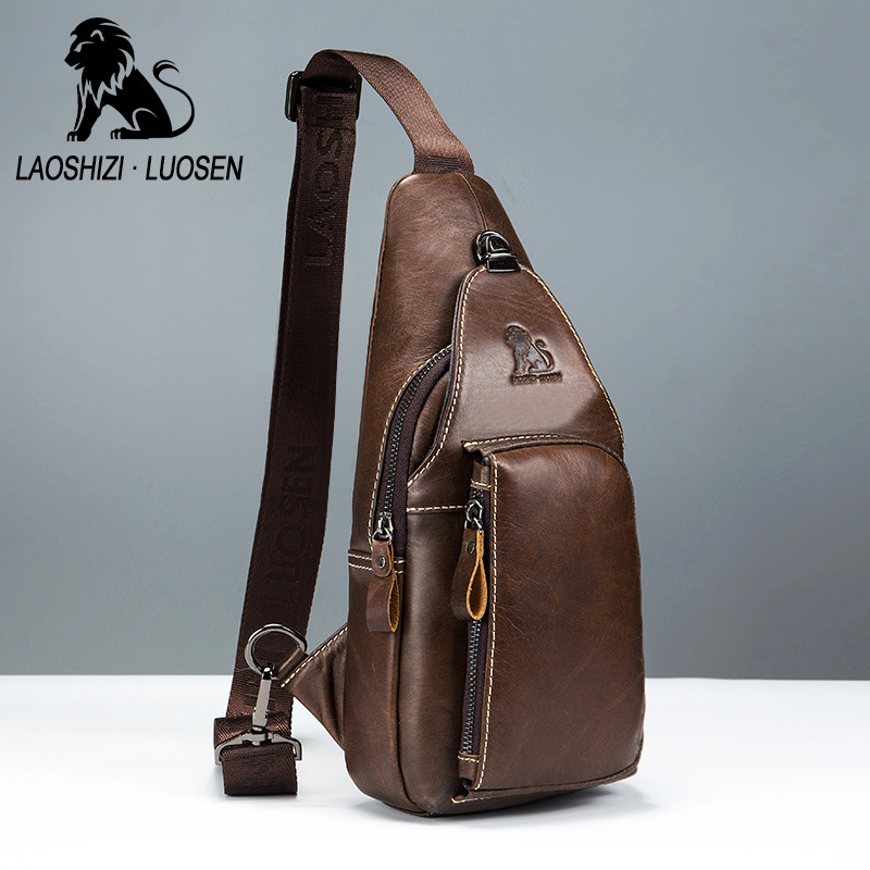 Retro New Brand Genuine Leather Chest Bags Messenger Bag Male Shoulder Strap Back Bags Cow Leather Crossbody Bags Men Chest Pack