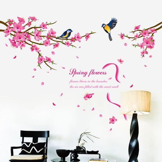 Chino Elegante Pájaros Flor Diy Pegatinas De Pared Flor De Durazno