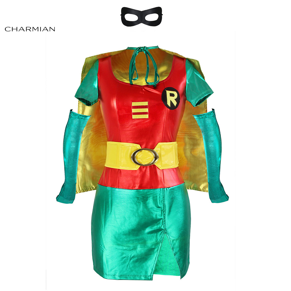 Charmian Womens Sexy Robin Halloween Cosplay Costume Adult Mini Dress Carnival Party Fantasias Cosplay Costume Clothes