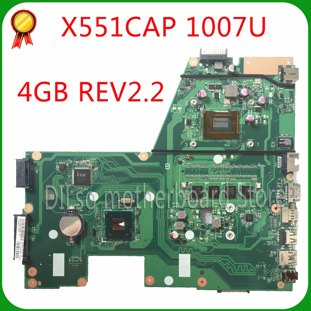 KEFU X551CA For ASUS X551CA X551CAP Laptop motherboard X551CA mainboard REV2.2 1007u 100% tested new motherboard freeshipping