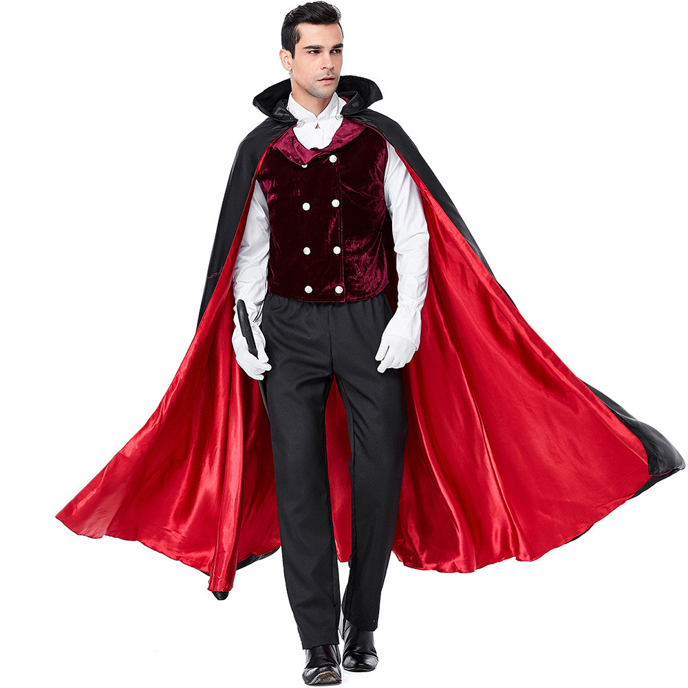 Mens Gothic Vampire Costumes Europe Vampire Adults Man Cosplay Outfit For Halloween Carnival Party Role Play Costumes