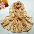 Fashion Accessories Lady Musical Note Chiffon Neck Scarf Shawl Muffler Scarves AliExpress scarves auction Free Shipping