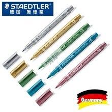 Фломастеры Staedlter 8323, металлические цвета, маркеры, используются для самостоятельных открыток, канцелярские принадлежности для офиса и школы, 5 шт./лот