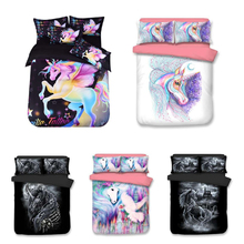 Unicorn Cartoon Printing Bedding Set Flower Bed Linen 3pcs/set Duvet Cover Pastoral AB Side Fashion Pillowcase