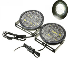 1 Pair 12V 18 LED Round Car Driving Daytime Running Light DRL Fog Lamp Bright White Auto LED Lighting Offroad Drop Shipping free shipping 1 1 replacement fog lamp led daytime running light car led daytime running driving light fog fit for hyundai ix35
