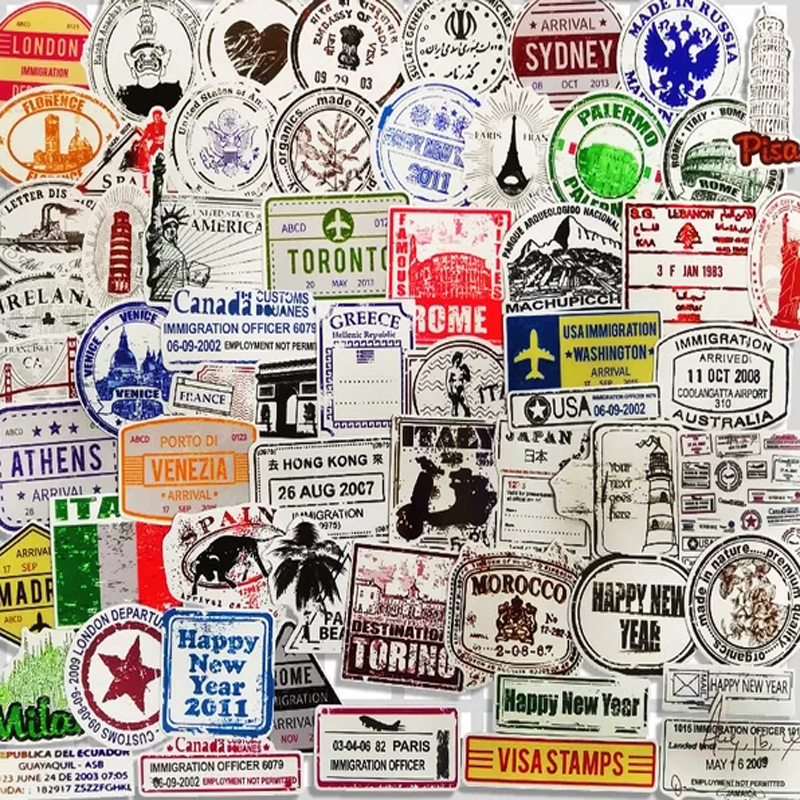 60 Pcs Travel The Postmark Stickers For Luggage Guitar Laptop Phone Skateboard Bicycle Motorcycle Graffiti Waterproof Stickers