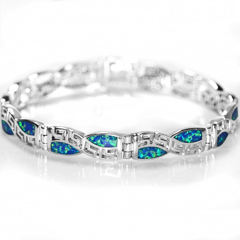 купить SZ0013 2016 New Design Chinese Pattern Blue Opal Gem Bracelets For Women Bracelets & Bangles