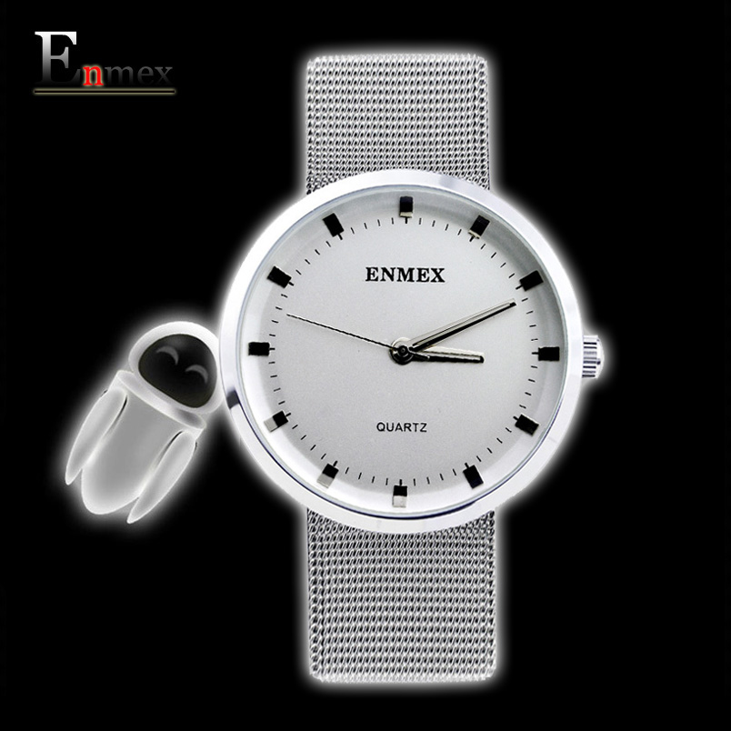 2017 gift for lady Enmex simple design pure white  wristwatch Fresh and clean style stainless steel fashion clock quartz watches 2017 gift for lady enmex simple design pure white wristwatch fresh and clean style lovely lady fashion clock quartz watches