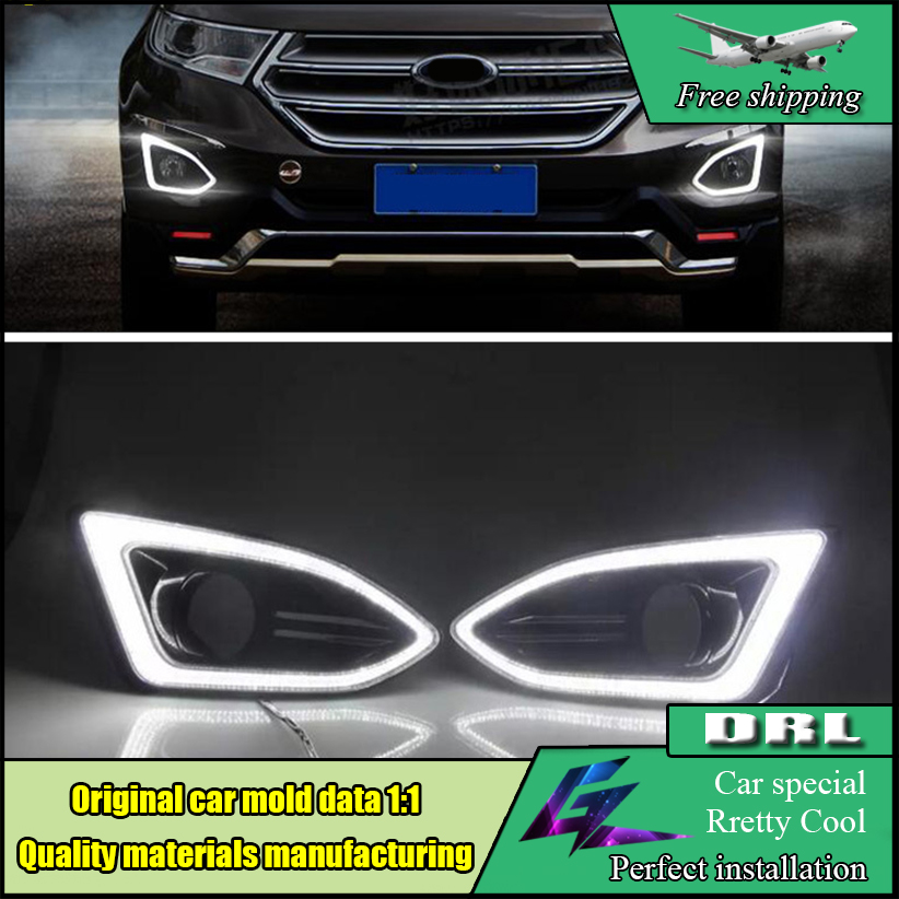 Car Styling LED DRL For Ford Edge 2015 2016 LED DRL Daytime Running Light 12V Waterproof Fog Lamp DRL With Fog Lamp Hole new dimming style relay waterproof 12v led car light drl daytime running lights with fog lamp hole for mitsubishi asx 2013 2014