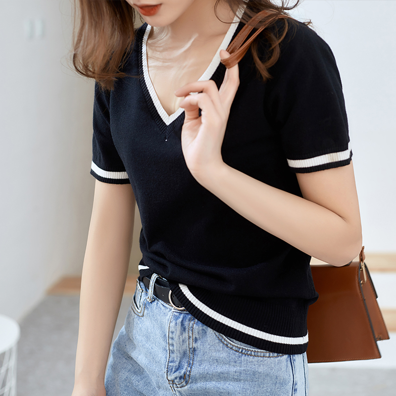 Soft Cashmere Short sleeve and Pullovers Women Spring and summer Sweater V Neck Female Jumper S XXL Knitted Tops in Pullovers from Women 39 s Clothing