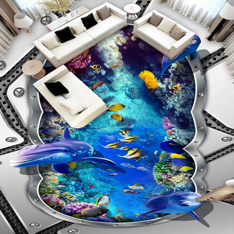 3D Flooring PVC Waterproof Self-adhesive Wallpaper Murals Custom Photo Wallpaper Underwater World Dolphin Bathroom Floor Mural