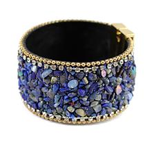 цена на Free shipping, New Fashion Jewelry Woman Bangle Bracelet,Magnetic clasp High-grade Leather Crystal Stones Accessories