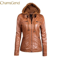 Chamsgend Plus Size 3XL 4XL 5XL 6XL 7XL Women Leather Jacket 2017 PU Hooded Fashion Autumn