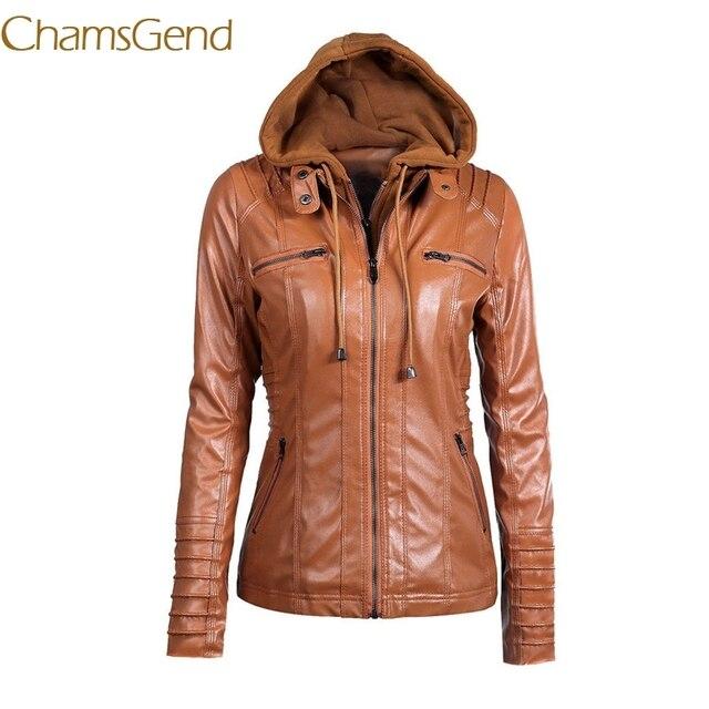 Chamsgend plus size 3XL 4XL 5XL 6XL 7XL Women leather jacket 2017 PU hooded fashion Autumn Winter ladies  jacket outerwear 44#