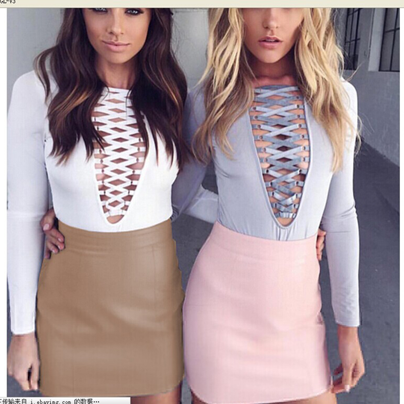 Fashion Women Sexy Bandge Leather High Waist Pencil Bodycon Hip Short Mini Skirt