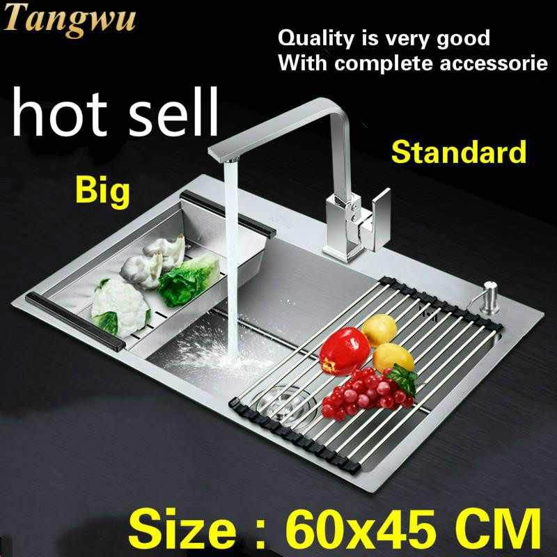 Free Shipping  Hot Sell Household Vogue Balcony Kitchen Manual Sink Single Trough Big Durable 304 Stainless Steel 60x45 CM