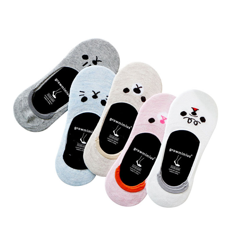 12 Pcs=6 Pairs CAT Warm Comfortable Cotton Bamboo Fiber Girl Women's Socks Low Ankle Female Invisible Girl Boy Hosiery Meias Sox