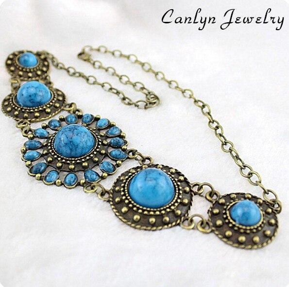 Fashion Accessories Retro Vintage Circle Turquoise Bijouterie Necklace & Pendant for Women Wholesale  CX074