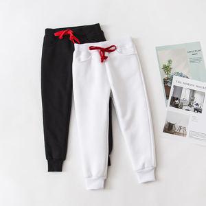 Image 4 - Pantalones deportivos para niños y adolescentes pantalones largos de algodón, pantalones de chándal de primavera, informales, Blanco sólido y negros, novedad de 2019