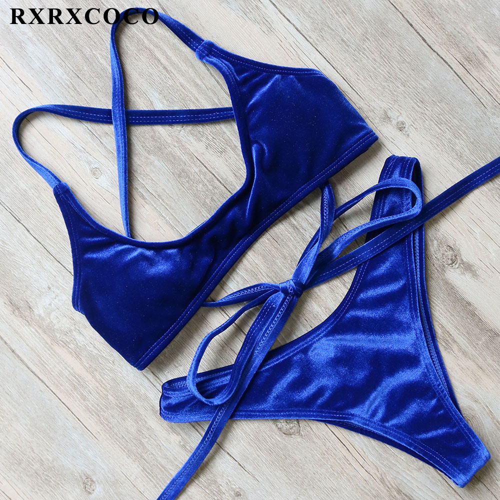 RXRXCOCO Hot Swimwear Women Bandage Bikini 2018 Set Sexy Velvet Design Swimsuit Push Up Solid Low Waist Bikinis Maillot De Bain rxrxcoco hot swimwear women sexy lace