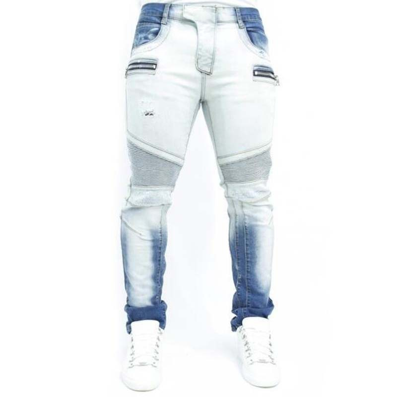 ФОТО selling Famous Brand Paris Catwalk Shows Stretch Gray Men Jeans Washed Retro Slim Biker Jeans Balmai Jeans Men Skinny Jeans Mens