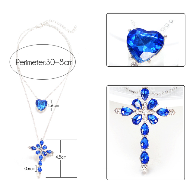 Multilayer Blue Crystal Heart Cross Pendant Necklace for Women Fashion Rhinestone Ocean Jewelry Choker Statement Valentine's Day 1
