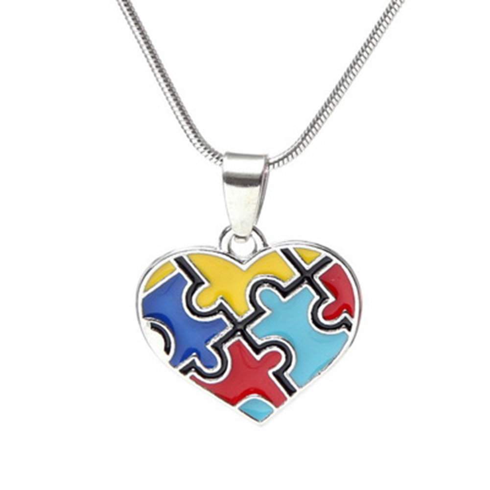 Hot Multi-Colored enamel Autism Awareness puzzle Piece Heart Pendant with Snake Chain necklace for men /women jewelry(China)