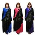 Mujeres de la manera de Señora Rhinestone Bordado Vestido Maxi Musulmán Islámico Jibab Caftán Abaya Ropa Larga