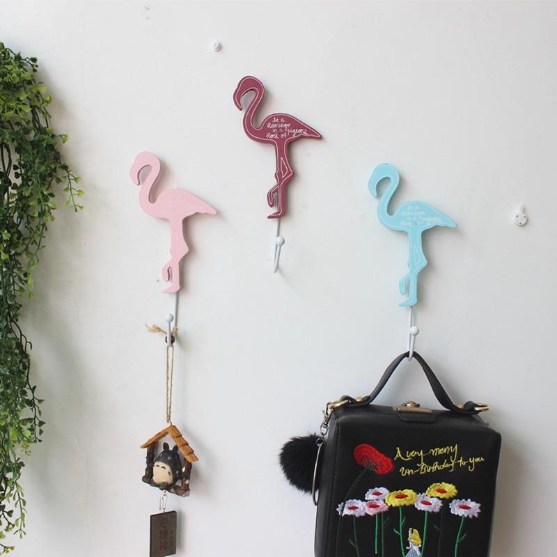 Amerikaanse Stijl Hout Flamingos Jas Haak Smeedijzeren Handdoek Haken Rails Muur Deur Opknoping Decoratie