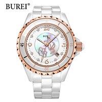BUREI Women Watch Top Nueva Marca Impermeable Fecha Display Reloj De Cerámica Blanco Hembra Lente Digital de Pulsera Venta Caliente Día de la Mujer