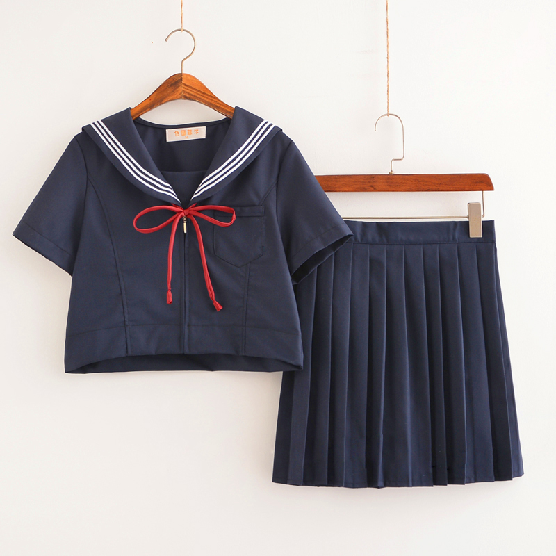 Dark Blue Sailor Uniform Novelty School Girl Uniforms Stage Performance Student Suits Short Long Sleeve Tops Pleated Skirt