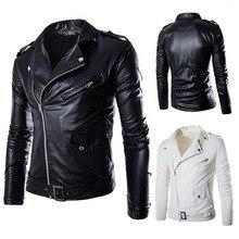 Брендовая Осенняя Весенняя повседневная кожаная куртка на молнии, мотоциклетная кожаная куртка, облегающие мужские куртки и пальто черного и белого цвета