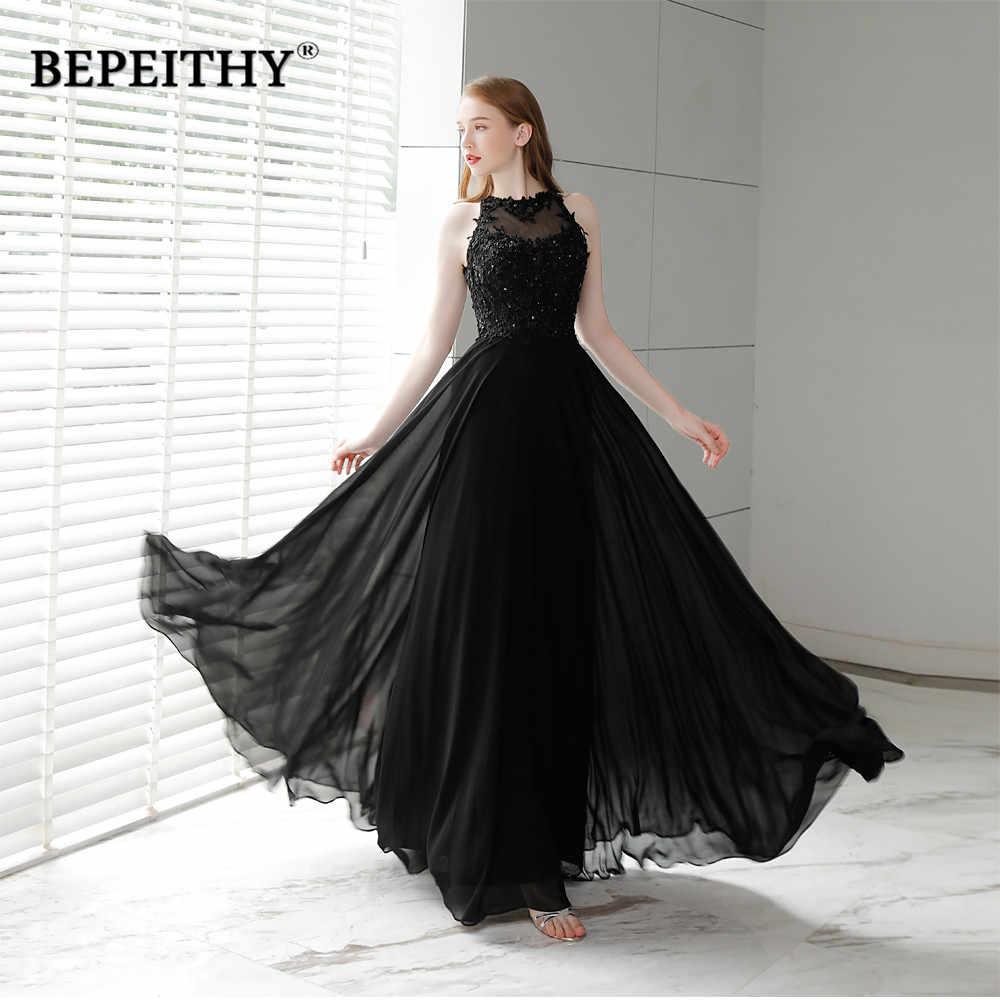 Vestido De Festa Black Chiffon Long Prom Dresses 2019 O Neck Vintage Evening  Dress Party Elegant 0309fc2195a1