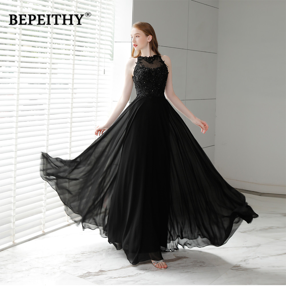 Vestido De Festa Black Chiffon Long   Prom     Dresses   2019 O Neck Vintage Evening   Dress   Party Elegant Hot Sale 2019 Longo