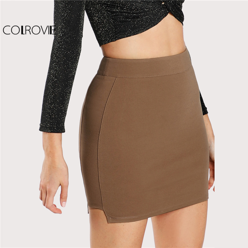 COLROVIE 2018 Spring Solid Knit Sexy Bodycon Skirt Camel Above Knee Mid Waist Zipper Plain Skirt ...