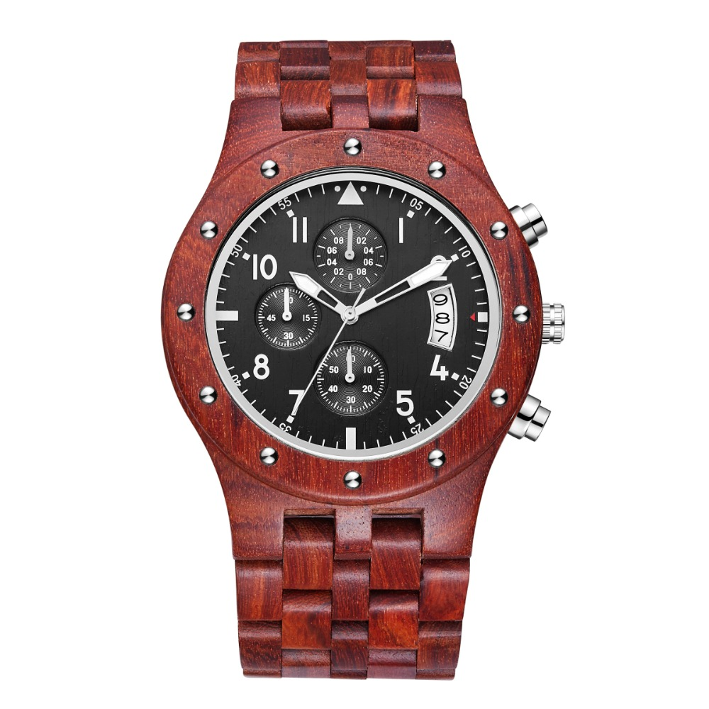 TJW 2018 Multi-function Sports Watch Sandalwood Red Sandalwood Watch Men's Sports Watch outdoor sports multi function seamless polyester head scarf red multicolored 3 pcs