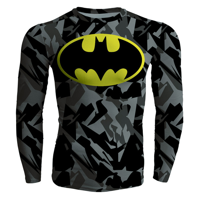 Sports fitness Men's Super hero Batman spider-man Compression straitjacket Quick drying movement long sleeves breathable T-shirt