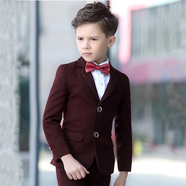 Brand Child Boy Clothing Burgundy Solid Tuxedo 5pcs Toddler Kids Wedding Suits Formal Slim