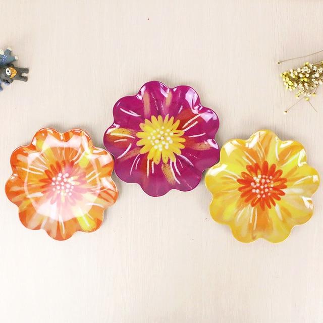 Melamine Fruit Plates European Style Elegant Flower Snack Plates Color Plate Plastic Trays Tableware Breakfast Dish & Melamine Fruit Plates European Style Elegant Flower Snack Plates ...