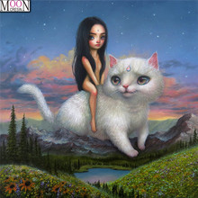 MOONCRESIN DIY Diamond Painting Cross Stitch Girl Riding White Cat Diamond Embroider Full Square Drill Mosaic Decoration Animals