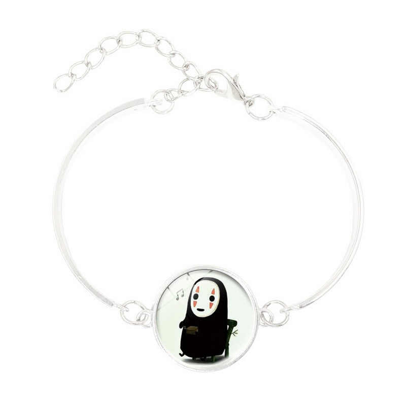 בציר תכשיטי עם כסף מצופה זכוכית קרושון תבנית Ghost קסם ידידות צמיד צמיד לנשים מפלגה מתנות