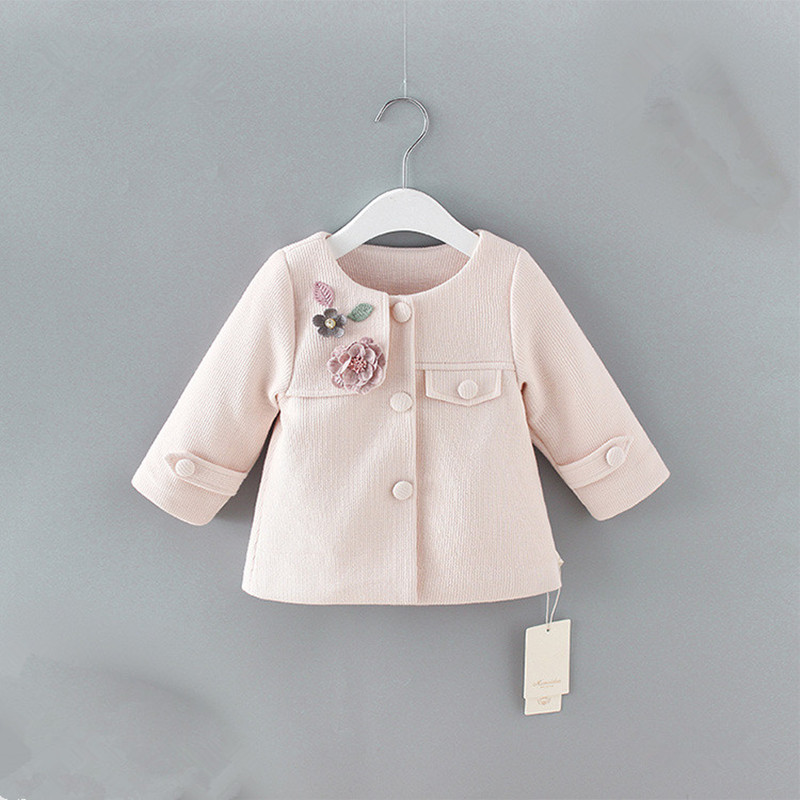 baby spring coats 2019 Spring England Style newborn baby outerwear for toddler fashion jacket clothing with flowers appliques(China)
